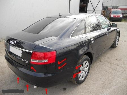 mounting points for the rear bumper AUDI A6 C6